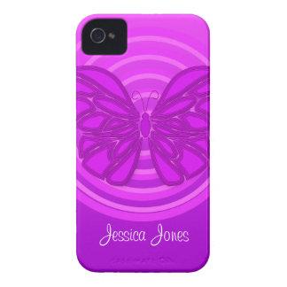 Caja intrépida de Blackberry de la mariposa iPhone 4 Fundas