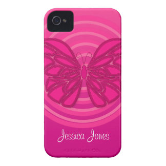 Caja intrépida de Blackberry de la mariposa rosada iPhone 4 Carcasas