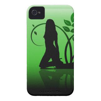 Caja intrépida de Blackberry de la silueta verde iPhone 4 Case-Mate Funda