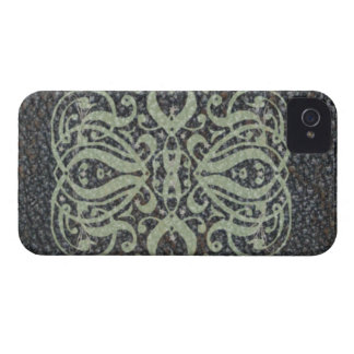 Caja intrépida de Blackberry de la voluta de cuero iPhone 4 Case-Mate Carcasas