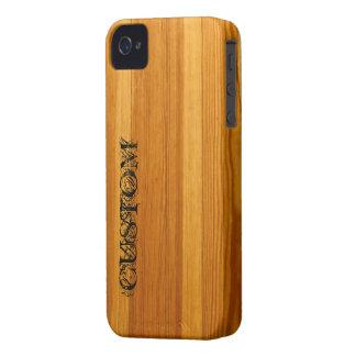 Caja intrépida de Blackberry - maderas - personali iPhone 4 Protectores