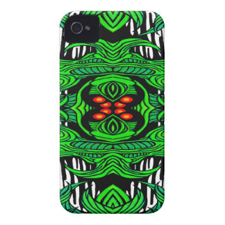 caja intrépida de la zarzamora verde del monstruo funda para iPhone 4 de Case-Mate