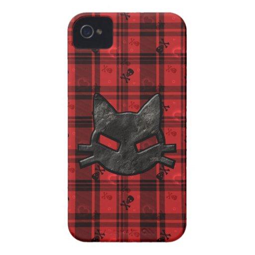 Caja intrépida negra y roja del mún gatito gótico  Case-Mate iPhone 4 cárcasa