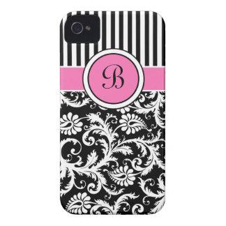 Caja intrépida rayada rosada, negra, blanca de Bla Case-Mate iPhone 4 Cárcasas