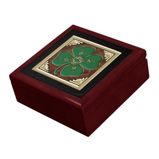 Caja irlandesa afortunada del recuerdo del trébol joyero cuadrado grande