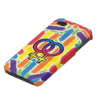 Caja lesbiana del arco iris del orgullo iPhone 4 carcasas