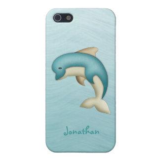 Caja linda de la mota del monograma del delfín iPhone 5 fundas