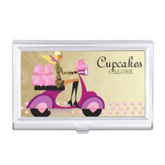 Caja linda de la panadería del oro de la magdalena cajas de tarjetas de negocios