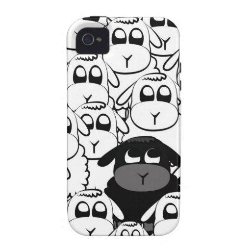 Caja linda del iphone de las ovejas negras vibe iPhone 4 carcasas