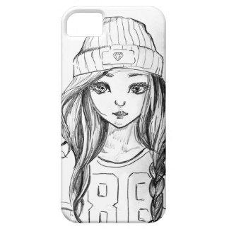 Caja linda del teléfono del dibujo del chica iPhone 5 carcasas