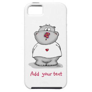 Caja linda del teléfono - hipopótamo con la maripo iPhone 5 Case-Mate funda