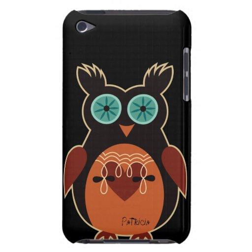 Caja linda retra oscura del tacto de iPod del búho Barely There iPod Coberturas