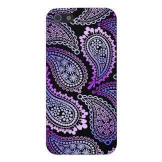 Caja lista púrpura del iPhone 5 5S de Paisley iPhone 5 Protectores