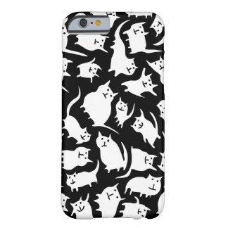 Caja loca blanco y negro del iPhone 6 de los gatos Funda Para iPhone 6 Barely There