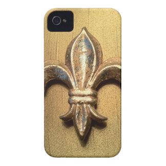 Caja metálica de la impresión de la mirada del oro iPhone 4 funda
