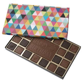 Caja modelada geométrica colorida de chocolates caja de bombones variados con 45 piezas