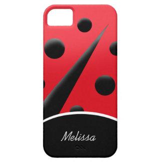 Caja moderna roja/del negro de la mariquita del iP iPhone 5 Fundas