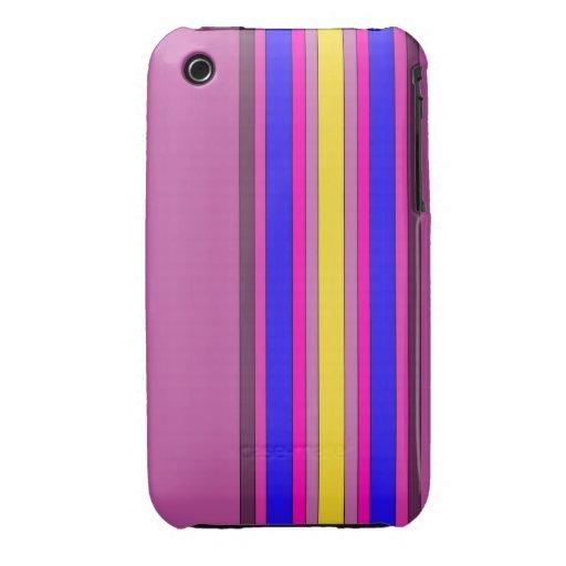 Caja multicolora de las rayas verticales iPhone 3 protector