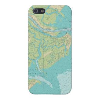 Caja náutica del teléfono de la carta de la isla iPhone 5 fundas
