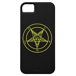 Caja negra/amarilla del teléfono de Baphomet iPhone 5 Funda