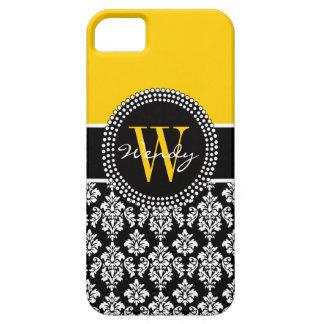 Caja negra amarilla inicial personalizada del dama iPhone 5 Case-Mate protector