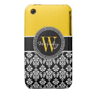 Caja negra amarilla inicial personalizada del iPhone 3 Case-Mate protector