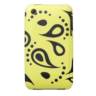 Caja negra/amarilla retra de Paisley Case-Mate iPhone 3 Protector