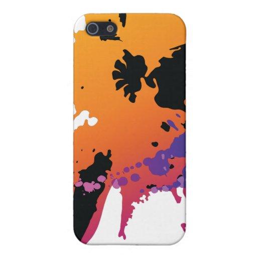 Caja negra anaranjada de la cubierta del iphone 4  iPhone 5 fundas
