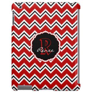Caja negra blanca roja del iPad de Chevron del Funda Para iPad