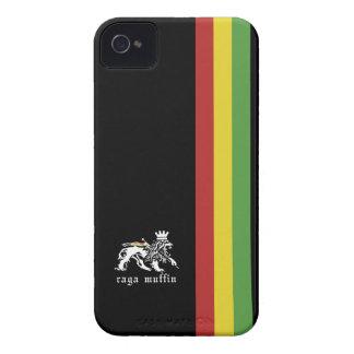 Caja negra de Blackberry de la raya de Rasta iPhone 4 Carcasas