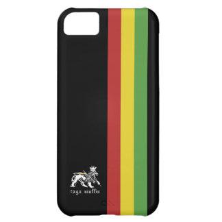 Caja negra de Iphone 5 de la raya de Rasta Funda Para iPhone 5C