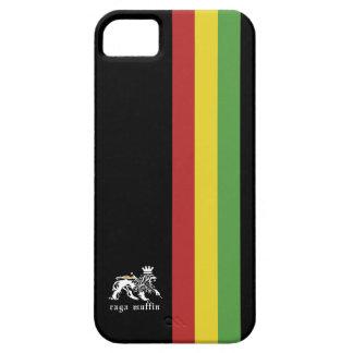 Caja negra de Iphone 5 de la raya de Rasta iPhone 5 Carcasa
