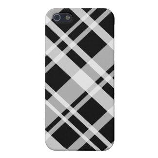 caja negra de la mota de la tela escocesa del iPhone 5 carcasa