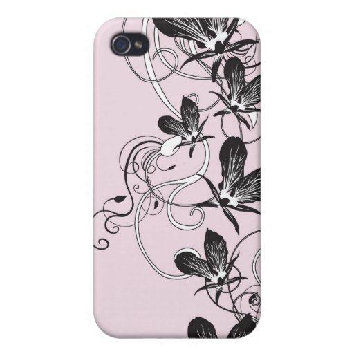 Caja negra de la mota de las orquídeas iPhone 4 fundas