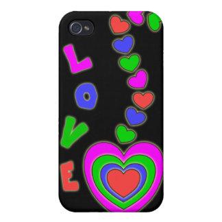 Caja negra de la mota del iPhone 4 de los corazone iPhone 4 Carcasas