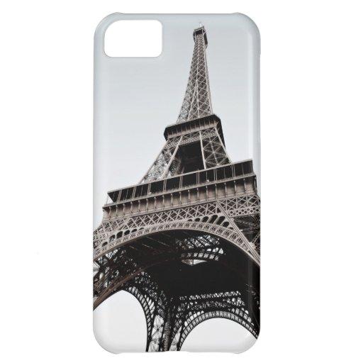 Caja negra del blanco IPhone5 de Eiffel del viaje Funda Para iPhone 5C