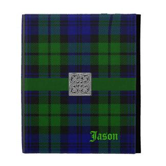Caja negra del iPad de la tela escocesa de tartán