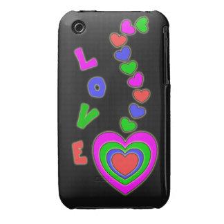 Caja negra del iPhone 3 de los corazones del amor  iPhone 3 Cárcasa