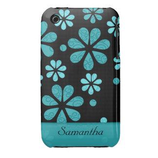 Caja negra del iPhone 3g/3gs de las flores retras: iPhone 3 Funda