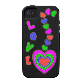 Caja negra del iPhone 4 de los corazones del amor Case-Mate iPhone 4 Carcasa