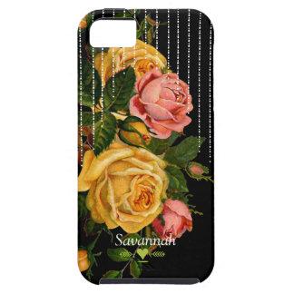 Caja negra del iphone 5 de los rosas florales de iPhone 5 carcasas