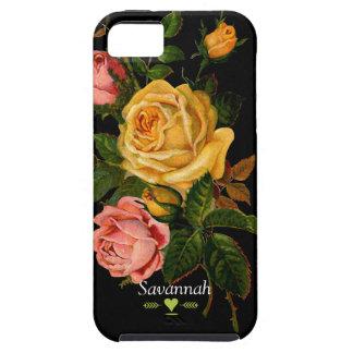 Caja negra del iphone 5 de los rosas florales de iPhone 5 funda