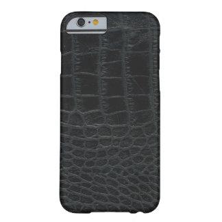 Caja negra del iPhone 6 de la piel del cocodrilo Funda Barely There iPhone 6