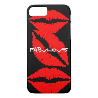 Caja negra del iPhone 7 con los labios rojos Funda iPhone 7