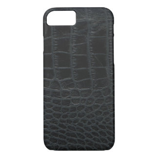 Caja negra del iPhone 7 de la piel del cocodrilo Funda iPhone 7