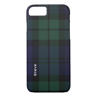 Caja negra del iPhone 7 de la tela escocesa de Funda iPhone 7