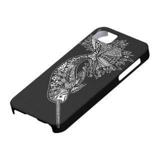 Caja negra del iPhone con la ballena dibujada mano