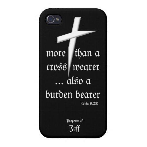 Caja negra del iPhone con la cruz iPhone 4/4S Carcasa