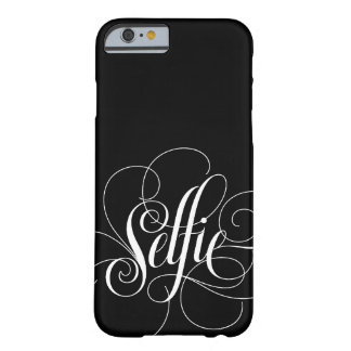 "Caja negra elegante del iPhone 6 de ""Selfie"" de Funda Para iPhone 6 Barely There"