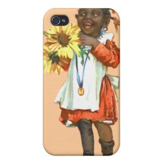 Caja negra linda de la mota del chica del vintage  iPhone 4 coberturas